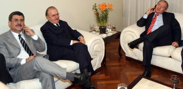 Senadores Romero Jucá, José Sarney e Renan Calheiros durante jantar da bancada do PMDB