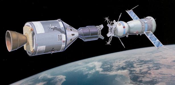 Concepção artística do encontro em órbita entre a nave soviética Soyuz e a norte-americana Apollo