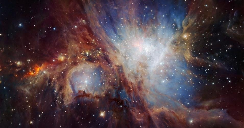12.jul.2016 - Astrônomos conseguiram ter a visão mais profunda e abrangente da nebulosa Órion graças ao instrumento HAWK-I, instalado no telescópio VLT (Very Large Telescope) situado no Chile. Nessa