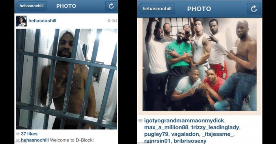 27.mai.2013 - O detento Michael Earl Thomas postou fotos na rede social Instagram de dentro da cadeia de Baltimore, EUA, usando um celular contrabandeado. As imagens mostram grupos de prisioneiros e outros locais da cadeia. Thomas, que está preso por assalto à mão armada, pode pegar mais três anos de prisão e multa de US$ 1.000 (cerca de R$ 2.000) pelo contrabando do celular