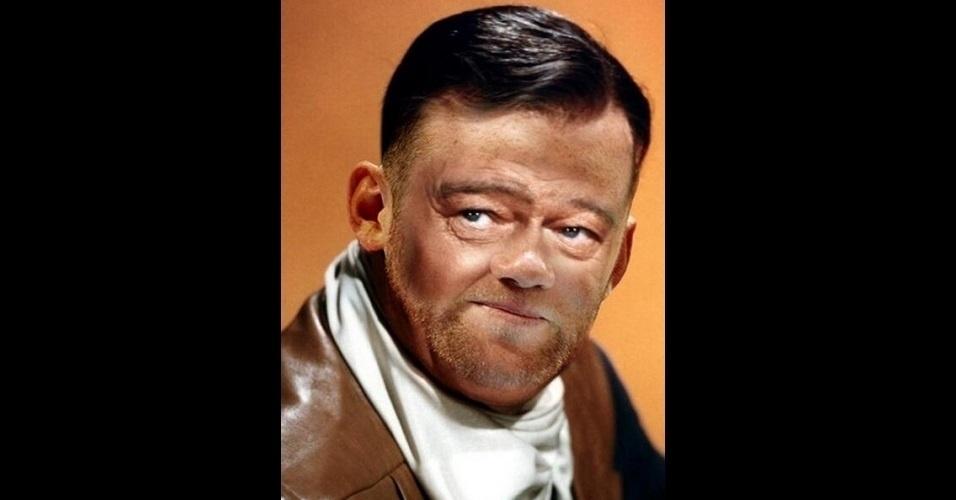"""O site """"The Poke"""" reuniu imagens da modinha na web que mistura duas celebridades em uma imagem só. Na foto, John Wayne e Wayne Rooney"""