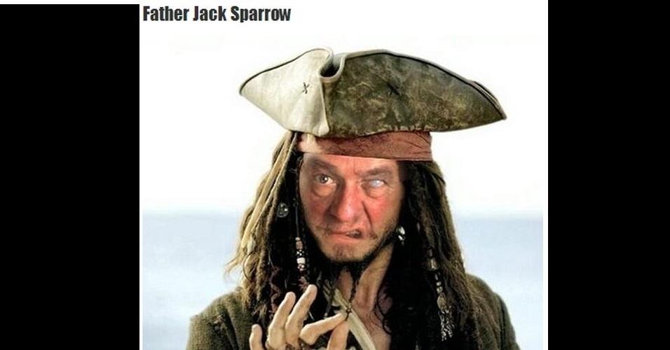 """O site """"The Poke"""" reuniu imagens da modinha na web que mistura duas celebridades que tem nomes parecidos em uma imagem só. Na foto, Father Jack e Jack Sparrow"""