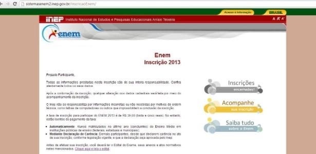 """Site do Enem 2013 mostra mensagem de """"Inscrições Encerradas"""" antes do prazo final. A imagem acima foi capturada por um estudante à 00h26 de hoje"""