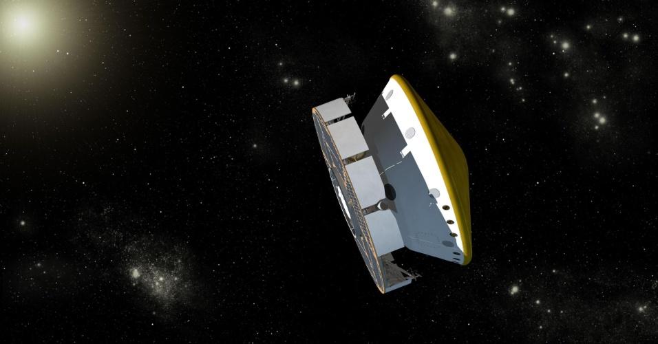 30.mai.2013 - A radiação a que um astronauta é exposto durante uma viagem a Marte aumentaria o risco de câncer fatal entre 3% a 5%, calcula a Nasa (Agência Espacial Norte-America), após analisar dados obtidos por um instrumento a bordo da MSL (ilustração acima). A cápsula transportou o robô Curiosity durante seu voo da Terra até Marte, entre novembro de 2011 e agosto de 2012. Dois tipos de radiação ameaçam os astronautas em viagens espaciais: os raios cósmicos galácticos (como explosões de supernovas) e as partículas que emanam do Sol