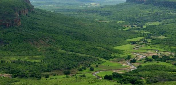 A vegetação da Caatinga cobre a fronteira das cidades de Santa Cruz do Piauí e Picos. A última reserva de biosfera do Brasil foi criada em 2001 para conservar essa área de 198 mil km2