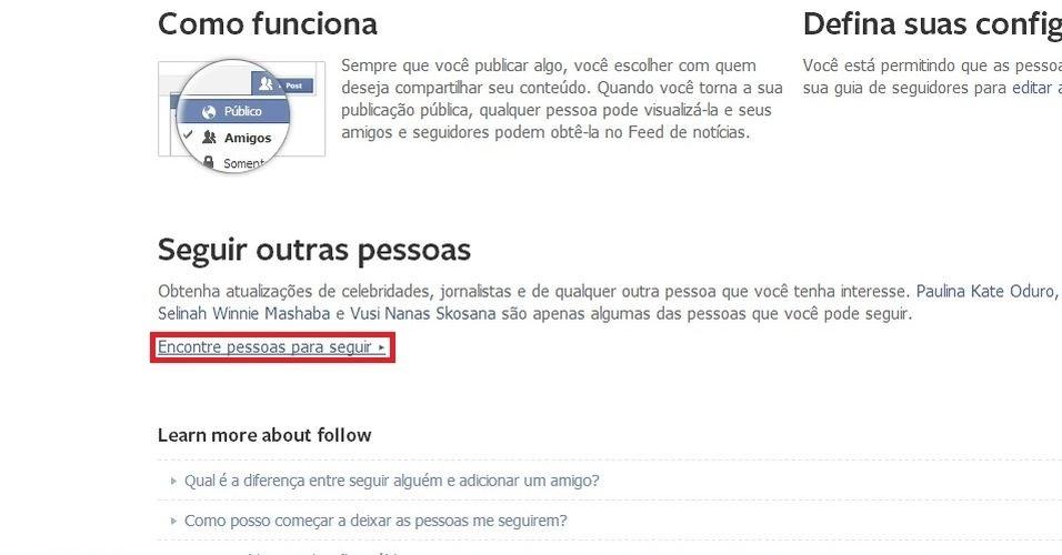 """Em """"Seguir outras pessoas"""", clique em """"Encontre pessoas para seguir"""""""