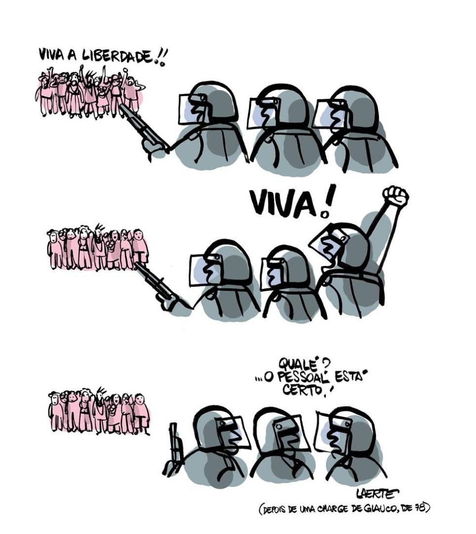 17.jun.2013 - Cartunista Laerte se inspirou em charge de Glauco, publicada em 1978, para retratar os protestos contra o aumento da tarifa do transporte público pelo Brasil. O cartoon destaca que os policiais também são parte da população.