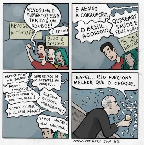 """17.jun.2013 - O artista Adriano Kitani publicou esta tira em sua página no Facebook com o seguinte alerta: """"Galera, cuidado com a coxinhização do movimento. [...] Cada vez mais eu tenho visto demandas reacionárias ou superficiais que estão diluindo o protesto"""""""
