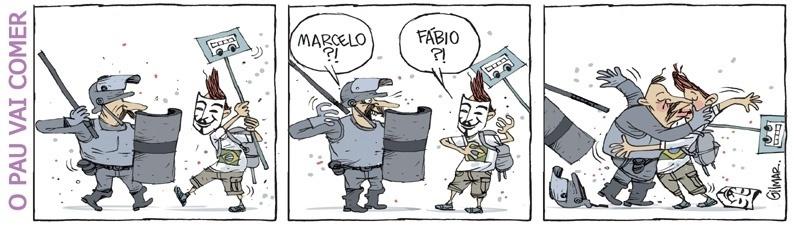 19.jun.2013 - Cartunista Gilmar representa um encontro pouco provável nas manifestações