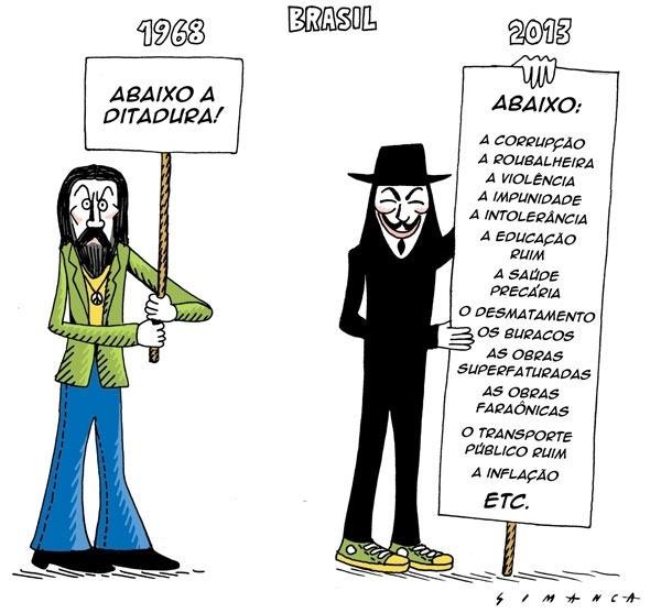 19.jun.2013 - O cartunista Simanca fez um pararelo entre a pauta dos protesto contra a ditadura militar no Brasil em 1968 e a pauta dos protestos de 2013