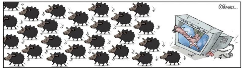 """20.jun.2013 - Cartunista Gilmar fez uma charge sobre os protestos intitulada """"As ovelhas"""""""