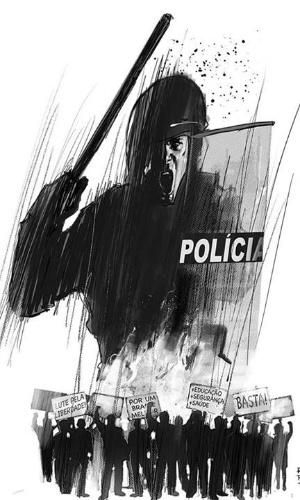 20.jun.2013 - Ilustrador Rod Reis retrata protestos e repressão policial em arte sobre as manifestações