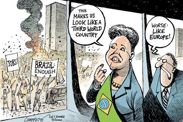 """21.jun.2013 - O jornal americano """"The New York Times"""" publicou uma charge sobre os protestos brasileiros nesta quinta-feira (20). A charge mostra a presidente Dilma Rousseff observando uma manifestação e afirmando que """"isso nos faz parecer um país de terceiro mundo"""". Em resposta, ela ouve que aquilo """"é pior: parece a Europa"""""""