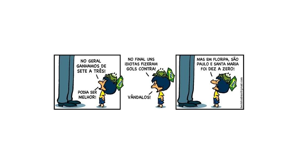 24.jun.2013 - O cartunista Alexandre Beck fez uma série de tiras sobre a participação do personagem Armandinho durante os protestos