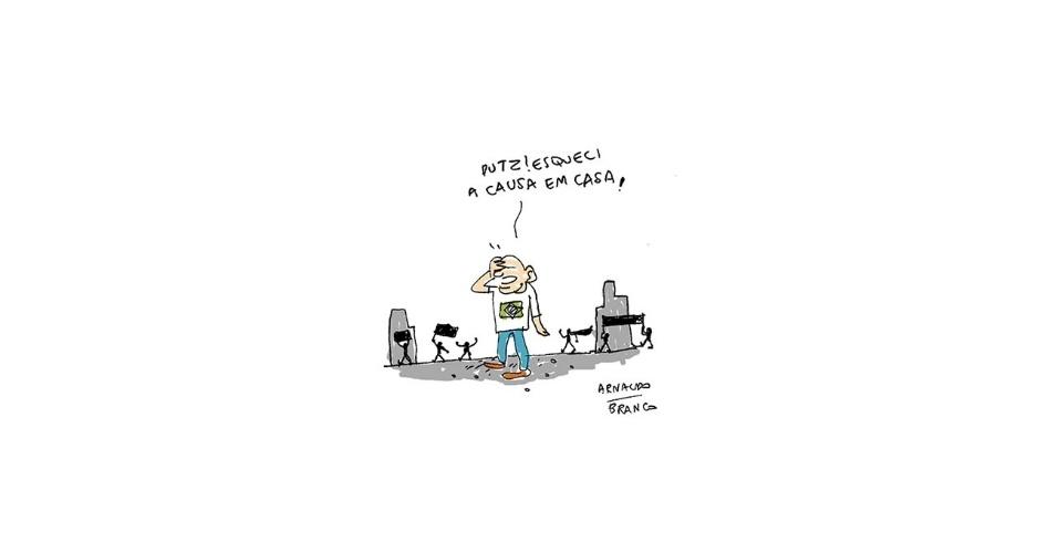 24.jun.2013 - O cartunista Arnaldo Branco critica a indefinição de causas durantes os protestos