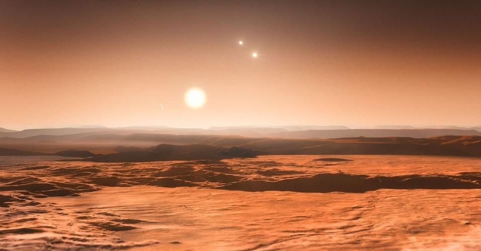 """25.jun.2013 - Astrônomos encontraram evidências da existência de ao menos seis planetas ao redor da estrela Gliese 667C, localizada na constelação do Escorpião, a 22 anos-luz de distância, segundo o Observatório Europeu do Sul (ESO, na sigla em inglês). Três deles são """"super Terras"""" (eles têm mais massa do que o nosso planeta, mas são menos massivos do que Urano ou Netuno, por exemplo) que orbitam uma região onde a água pode existir sob forma líquida e com temperatura adequada, o que os faz bons candidatos à presença de vida como a conhecemos. Esta é a primeira vez que três corpos são descobertos na zona habitável de um mesmo sistema planetário, destaca o ESO"""