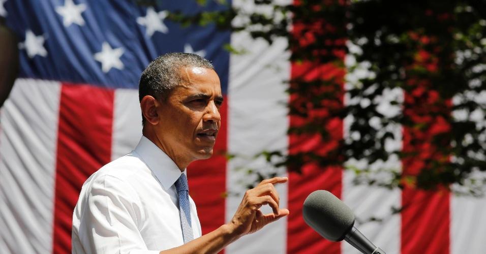 25.jun.2013 - O presidente dos Estados Unidos, Barack Obama, anuncia as estratégias de seu governo para reduzir as emissões de gases de dióxido de carbono (CO2) até 2020, que integram o novo Plano de Ação Climática dos Estados Unidos, durante discurso na Universidade Georgetown, em Washington