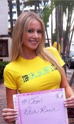Sancler Frantz, Miss Mundo Brasil 2013 manda o recado para o povo ir para as ruas!