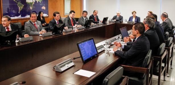 A presidente Dilma Rousseff se reúniu com os presidentes dos partidos que compõem a base aliada no Congresso