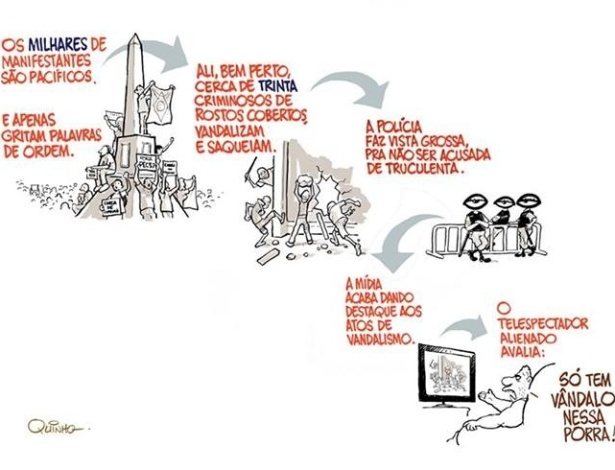 27.jun.2013 - Cartunista Quinho critica a forma como as manifestações são noticiadas pela imprensa