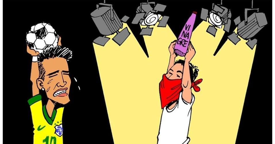 27.jun.2013 - O cartunista Carlos Latuff retrata a dificuldade da seleção brasileira para receber atenção em meio aos protestos que acontecem em todo o país
