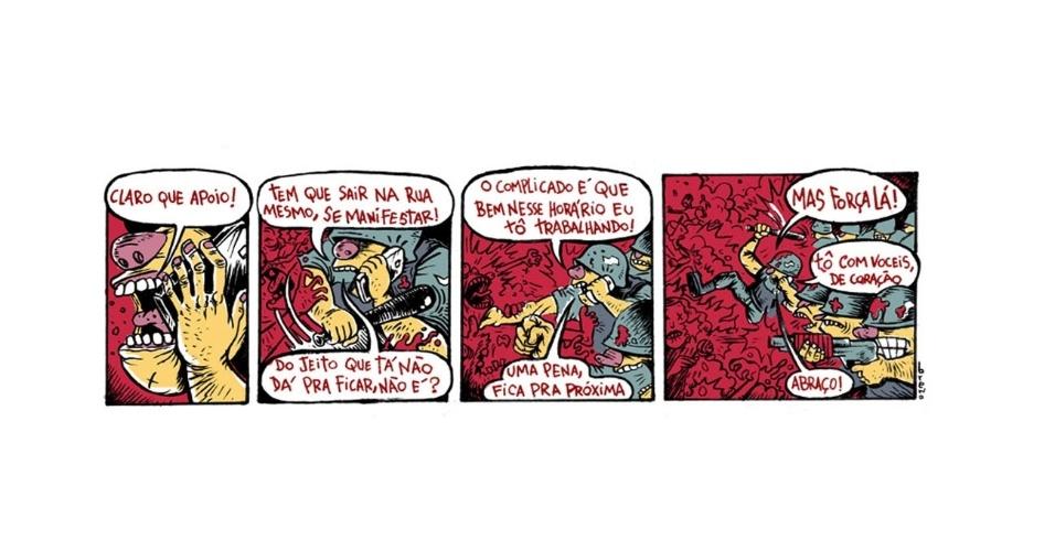 27.jun.2013 - O ilustrador Breno Ferreira faz uma tirinha mostrando uma controversa ação policial