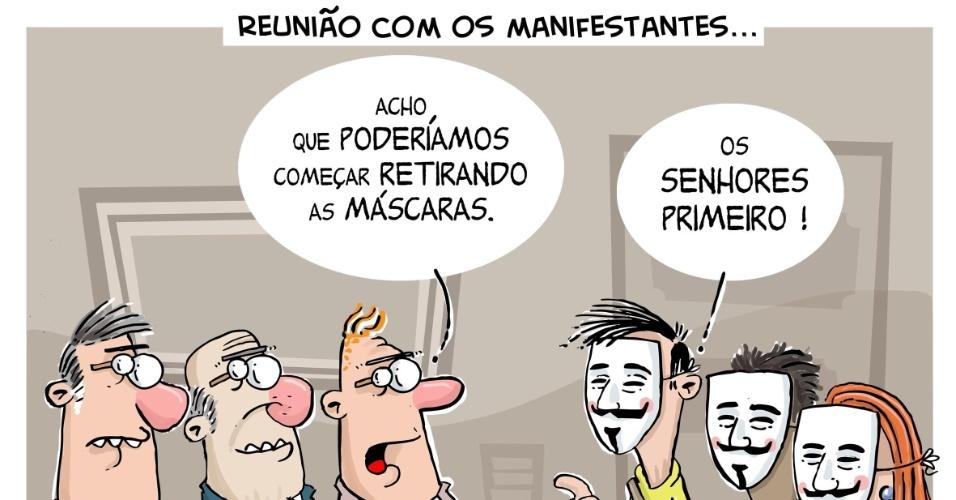 29.jun.2013 - O chargista Luiz Fernando Cazo retrata o contexto das reuniões entre políticos e movimentos sociais