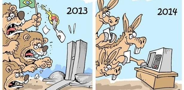 1º.jul.2013 - O ilustrador Lucio Oliveira faz uma comparação sobre a participação das pessoas nos protestos e durante as eleições