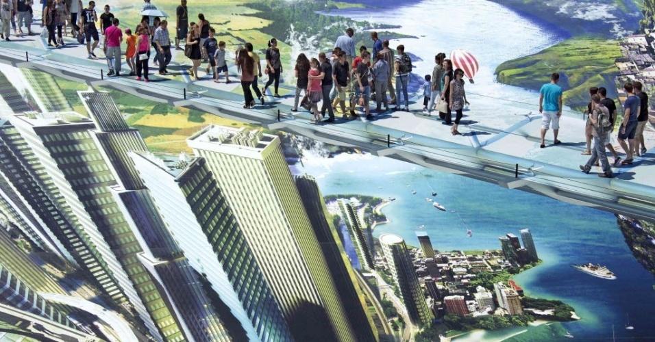 6.jul.2013 - Pessoas caminham em uma gigante obra de arte 3D criada pelo artista francês François Abelanet. A peça foi criada para uma vitrine de um evento organizado pela Renault, na França e tenta entrar para o Guinness Book como a maior obra de arte de rua