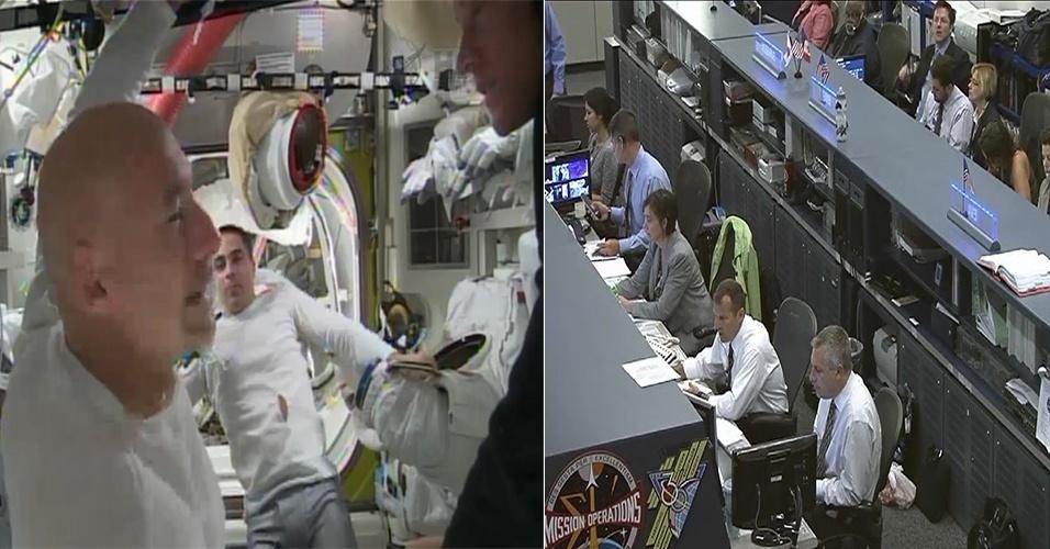 16.jul.2013 - A segunda caminhada espacial da missão 36 da Estação Espacial Internacional terminou cinco horas mais cedo do que o planejado. O italiano Luca Parmitano, da Agência Espacial Europeia (ESA, na sigla em inglês), e o norte-americano Chris Cassidy, da Nasa (Agência Espacial Norte-Americana), ficaram apenas uma hora e 32 minutos fora da ISS, tempo suficiente para cada um terminar a instalação de cabos de energia para componentes essenciais da plataforma. O controle da missão nos Estados Unidos (à direita) decidiu terminar a caminhada espacial depois que o astronauta Parmitano (à esquerda) percebeu que havia água flutuando por trás de sua cabeça dentro de seu capacete
