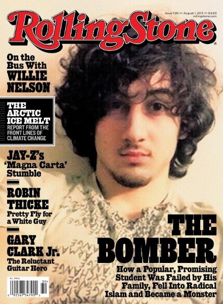 """17.jul.2013 - A capa da edição de agosto da revista norte-americana """"Rolling Stone"""", especializada em música, cinema e televisão, traz imagem do jovem Dzhokhar Tsarnaev, o acusado dos atentados da maratona de Boston, em abril, nos Estados Unidos, o que gerou uma série de críticas"""