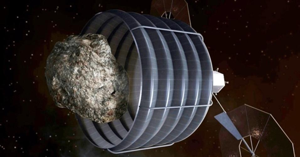 17.jul.2013 - Cientistas estão pessimistas a respeito da intenção da Nasa (Agência Espacial Norte-Americana) de rebocar um asteroide até a órbita estável da Lua, criando uma espécie de base para astronautas em longas missões espaciais. Como a nave-robô (concepção artística), que só deve ser lançada em 2017, terá capacidade de capturar objetos com até 10 metros de diâmetro, as opções de corpos celestes com trajetórias próximas à Terra caem de dez mil para 370, calcula Paul Chodas, especialista da Nasa, ameaçando o futuro da iniciativa