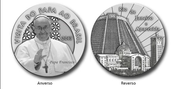 Casa da Moeda produz medalha em homenagem à visita do Papa Francisco ao Brasil