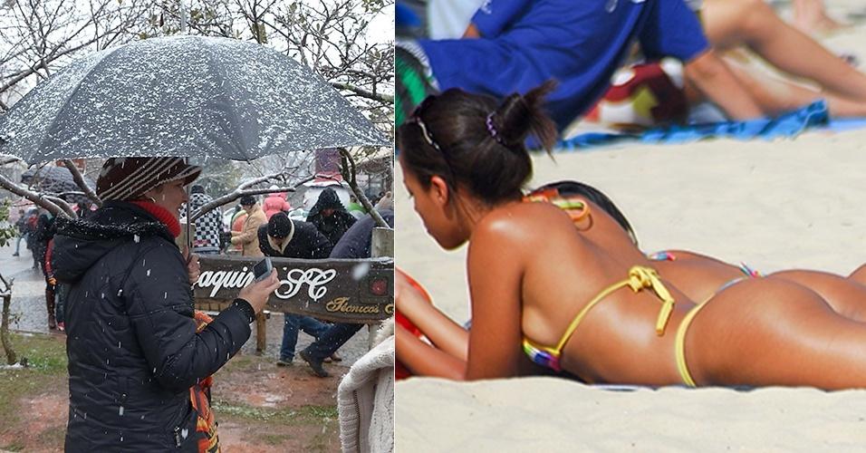 22.jul.2013 - Neve cai na cidade de São Joaquim, em Santa Catarina (à esquerda), enquanto banhistas aproveitam o sol na praia de Copacabana, na zona sul do Rio de Janeiro; temperaturas no Brasil variam quase 35ºC nesta segunda-feira (22)