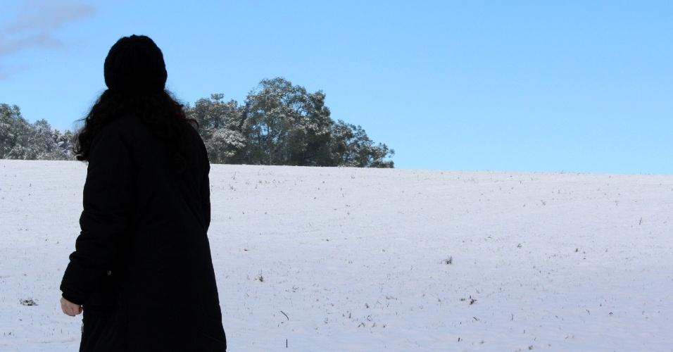 27.jul.2013 - Rúbia Morgana Waldmann enviou imagens da neve em Canoinhas (SC), próximo ao distrito de Marcílio Dias