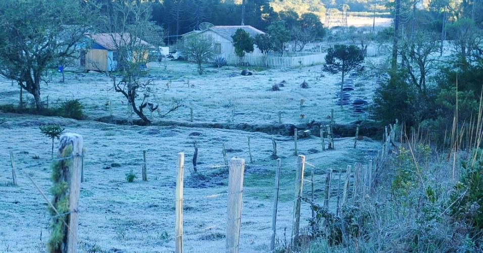 26.jul.2013 - Uma fina camada de gelo cobriu a cidade de Lages (SC), e a geada manteve as temperaturas baixas pela manhã: às 9h15, os termômetros marcavam 3,8ºC