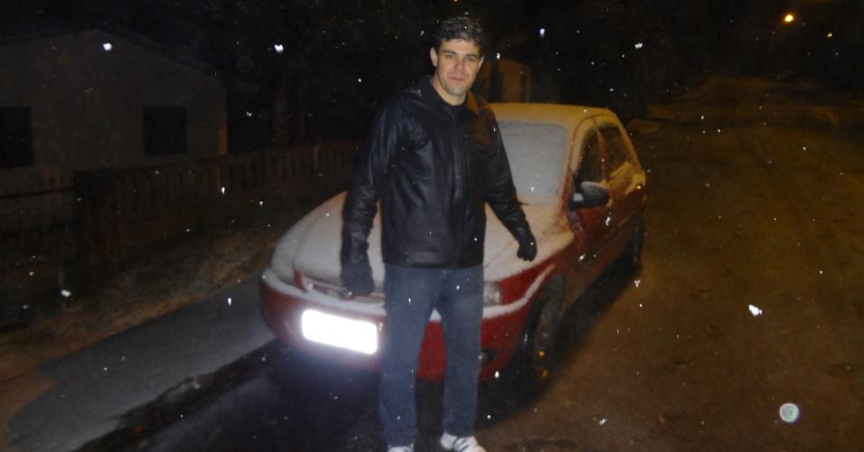 26.jul.2013 - Valdinei A. Reis mandou fotos da neve em São Mateus do Sul (PR)