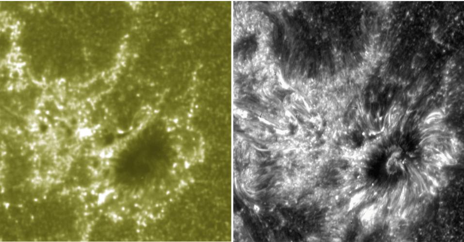 """30.jul.2013 - O telescópio Iris abriu seu """"olho"""" pela primeira vez no dia 17 de julho, ainda na órbita da Terra, e registrou imagens impressionantes do Sol. O equipamento da Nasa (Agência Espacial Norte-Americana), que foi lançado no dia 27 de junho, mostra não só o forte contraste de densidade e temperatura que existe no astro, como também revela detalhes nunca vistos das camadas da atmosfera solar, como uma infinidade de finas estruturas.  """"As belas imagens do Iris vão nos ajudar a entender como a baixa atmosfera pode alimentar uma série de eventos ao redor do Sol"""", explica Adrian Daw, chefe da missão no Centro de Estudos Espaciais Goddard em Greenbelt, em Maryland, nos Estados Unidos. Acima, uma mesma região da nossa estrela é vista pelo Observatório Solar Dinâmico (colorido, à esquerda) e pelo Iris (em preto e branco, à direita), ressaltando a precisão do novo telescópio espacial"""