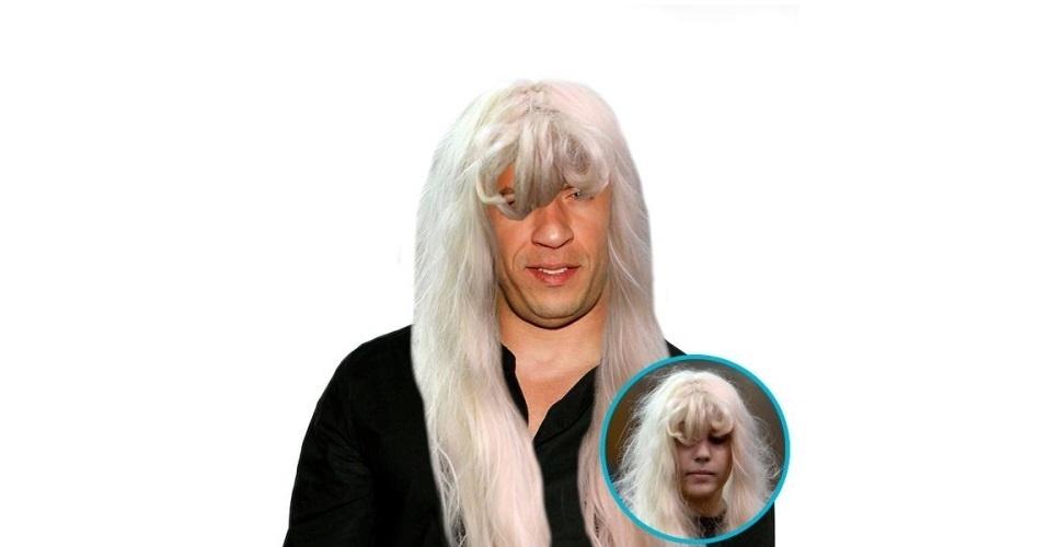 Na imagem, o ator Vin Diesel com o cabelo da atriz Amanda Bynes. Vin Diesel ganhou o cabelo de diversas celebridades, tudo feito com a ajuda de editores de fotos