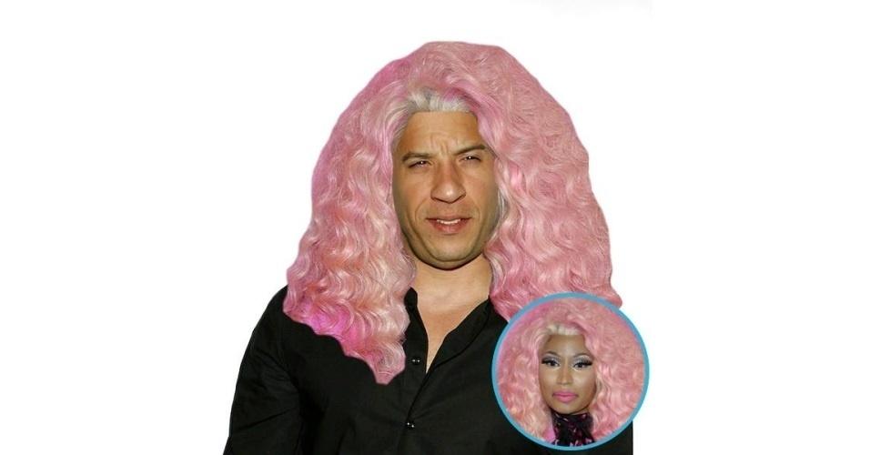 Na imagem, o ator Vin Diesel com o cabelo da cantora Nicki Minaj. Vin Diesel ganhou o cabelo de diversas celebridades, tudo feito com a ajuda de editores de fotos