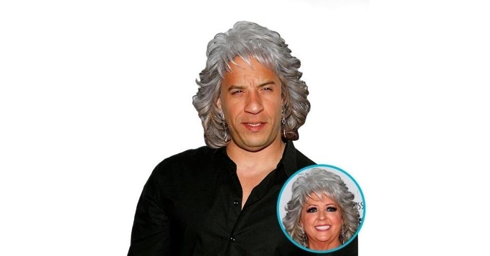 Na imagem, o ator Vin Diesel com o cabelo da chefe de cozinha Paula Deen. Vin Diesel ganhou o cabelo de diversas celebridades, tudo feito com a ajuda de editores de fotos