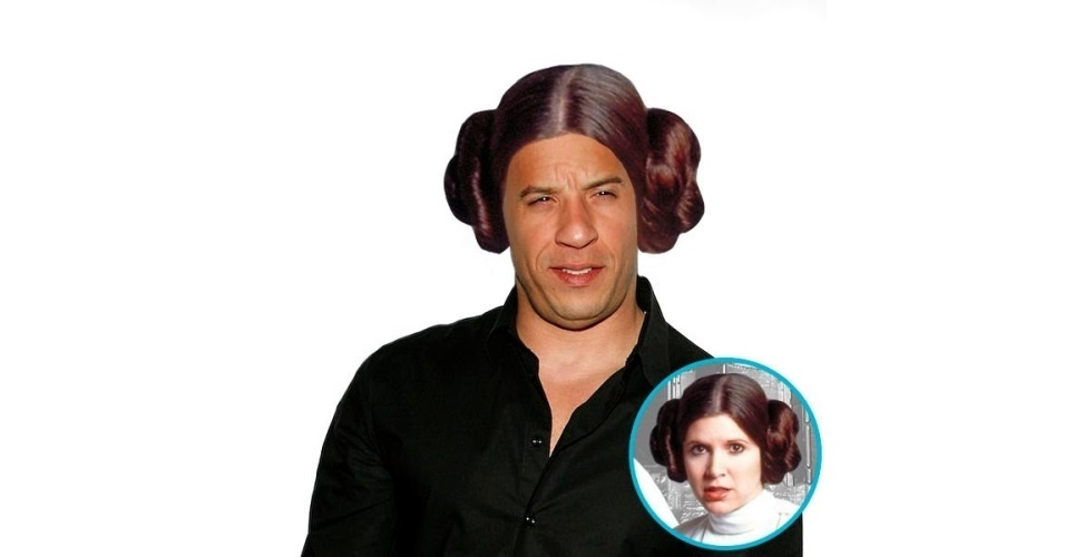Na imagem, o ator Vin Diesel com o cabelo da Princesa Leia, personagem dos filmes 'Star Wars'. Vin Diesel ganhou o cabelo de diversas celebridades, tudo feito com a ajuda de editores de fotos