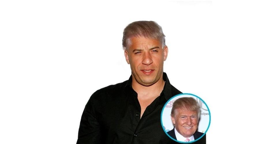 Na imagem, o ator Vin Diesel com o cabelo do empresário Donald Trump. Vin Diesel ganhou o cabelo de diversas celebridades, tudo feito com a ajuda de editores de fotos