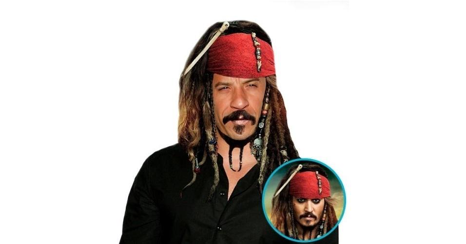 Na imagem, o ator Vin Diesel com o cabelo do personagem Capitão Jack Sparrow, do filme 'Os Piratas do Caribe'. Vin Diesel ganhou o cabelo de diversas celebridades, tudo feito com a ajuda de editores de fotos