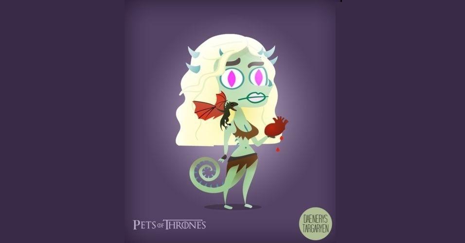 Na imagem, Daenerys Targaryen virou um dragão. O designer Mario Flores combinou os personagens da série 'Game of Thrones' com o animal que representa cada família
