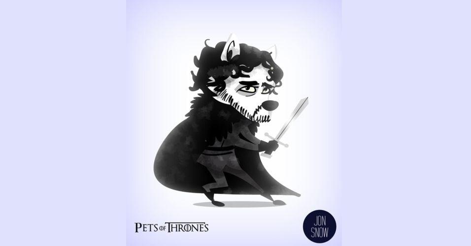 Na imagem, Jon Snow virou um lobo. O designer Mario Flores combinou os personagens da série 'Game of Thrones' com o animal que representa cada família