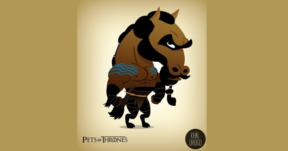 Na imagem, Khal Drogo virou um cavalo. O designer Mario Flores combinou os personagens da série 'Game of Thrones' com o animal que representa cada família