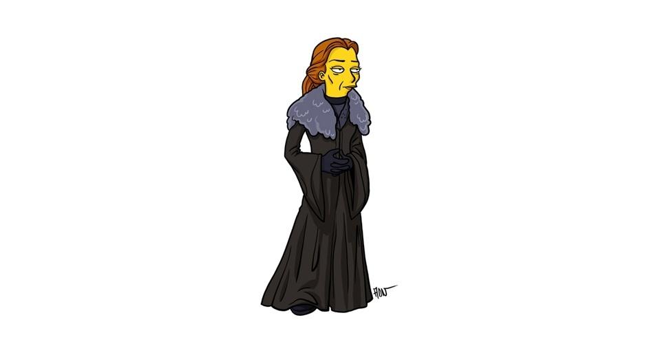 Na imagem, o artista Adrien Noterdaem deixou a personagem Catelyn Stark com o estilo 'Simpsons' de ser. Os personagens da serie 'Game of Thrones' ficaram tão populares que ganharam diversas versões na internet