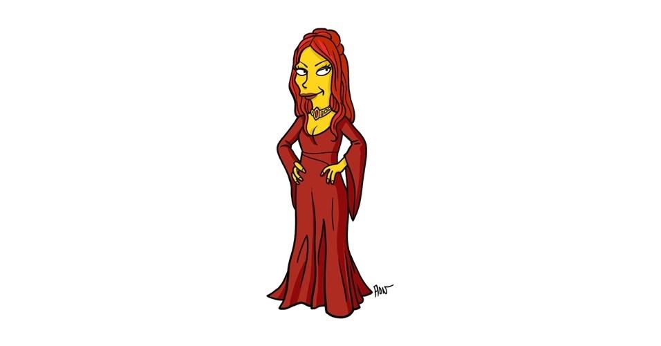 Na imagem, o artista Adrien Noterdaem deixou a personagem Melisandre com o estilo 'Simpsons' de ser. Os personagens da serie 'Game of Thrones' ficaram tão populares que ganharam diversas versões na internet