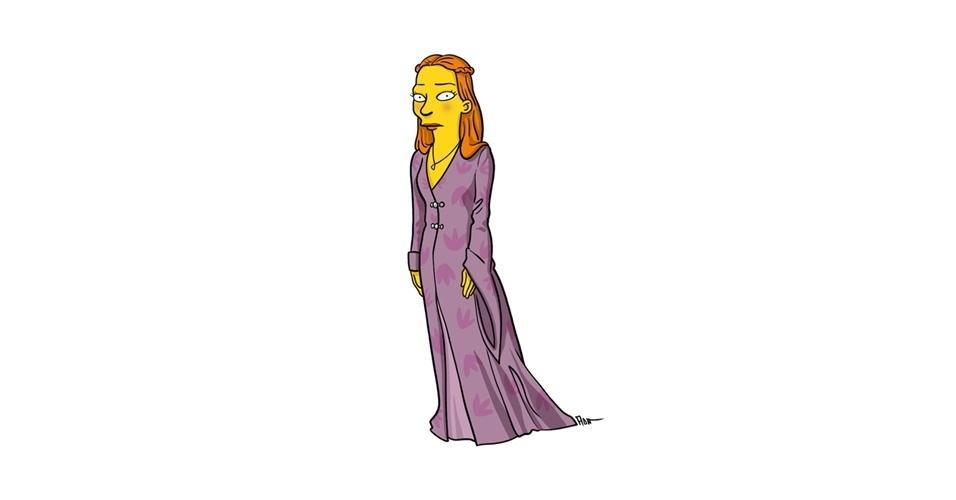 Na imagem, o artista Adrien Noterdaem deixou a personagem Sansa Stark com o estilo 'Simpsons' de ser. Os personagens da serie 'Game of Thrones' ficaram tão populares que ganharam diversas versões na internet